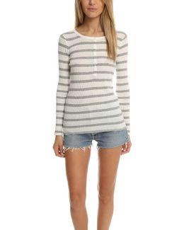 Atm Striped Long Sleeve Rib Henley