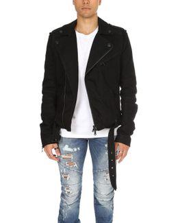 Ribbed Moto Denim Jacket Black