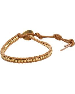 Gold Beads On Henna Leather Bracelet