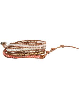 Multi Stone Mix Wrap Bracelet On Clay Leather