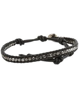 Gunmetal Bead Bracelet On Natural Black Leather
