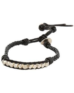 Silver Nugget Black Leather Bracelet