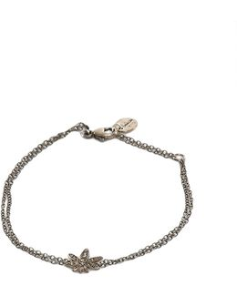 Silver Diamond Leaf Bracelet