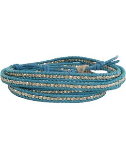 Aqua Leather Silver Bead Wrap Bracelet