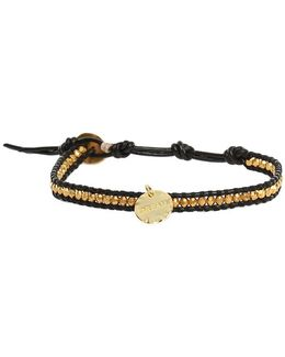 Gold Beads On Black Leather Bracelet With Gold Dream Charm