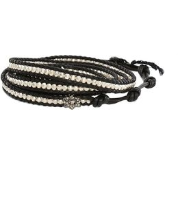 Silver Bead On Black Leather Wrap Bracelet With Diamond Star Charm