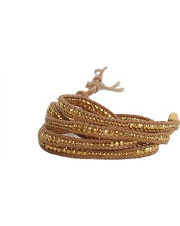 Gold Bead Wrap Bracelet On Natural Leather