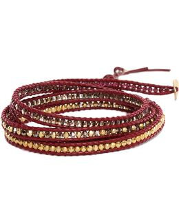 Mix Bead On Maroon Leather Wrap