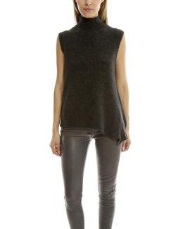 Sleeveless Mock-neck Pullover