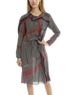 Print Silk Ruffle Dress