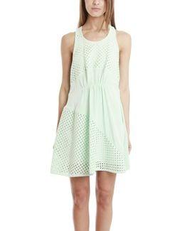 Polka Dot Panels Gathered Front Dress
