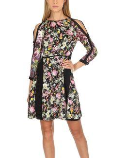 Meadow Flower Cold-shoulder Printed Silk-crepe Dress