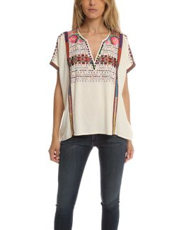 Yucatec Embroidered V Neck