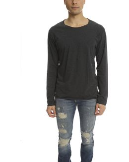 Lucien Pellat Finet T Shirt Ls Leaf Grey/black