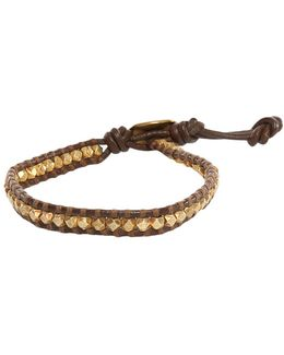 Gold Nugget On Brown Leather Bracelet