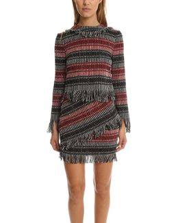 Fringe Tweed Ls Top