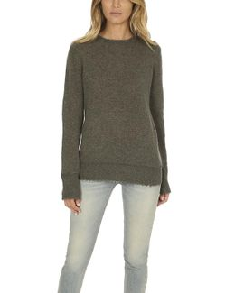 Distressed Edge Cashmere Crewneck Sweater