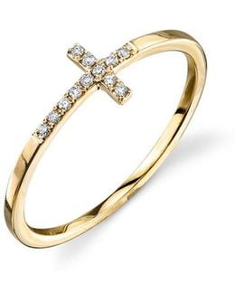 Bent Cross Pavé Diamond Ring