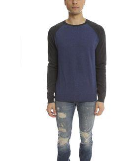 Cotton Cashmere Colorblock Crew Neck Sweater