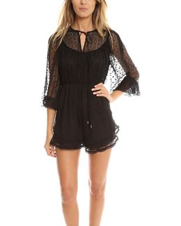 Embroidered Sheer Playsuit