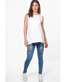 Maternity Layla Floral Embroidered Skinny Jeans