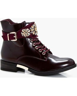 Holly Embellished Lace Up Chelsea