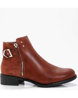 Abbie Zip Side Contrast Fabric Chelsea Boot