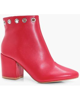 Jenny Eyelet Detail Block Heel Ankle Boot