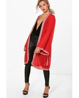 Emery Solid Woven Trim & Belted Kimono