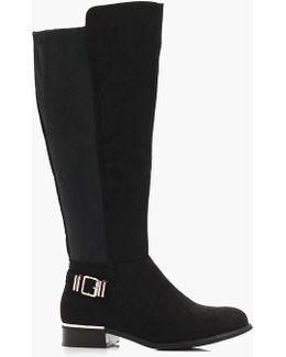 Rebeka Buckle Trim Knee High Riding Boot