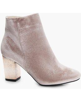 Alice Snake Velvet Gold Block Heel Boot