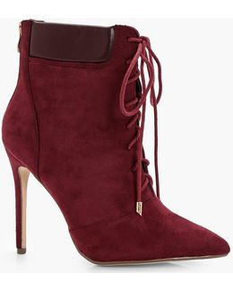 Clara Lace Up Pointed Stiletto Hiker Boot