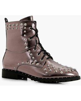 Isobel Stud Trim Metallic Extreme Hiker Boot