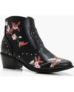 Taylor Floral Embroidered Ankle Boots