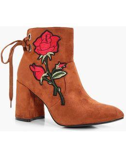 Danielle Floral Applique Ankle Boot