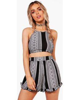 Lois Printed Crop & Frill Short Co-ord Set