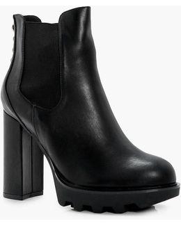 Lottie Platform Panel Toe Ankle Boot