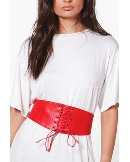 Maisie Pu Lace Up Corset Belt