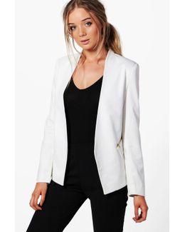 Maddison Lined Zip Detail Tailored Blazer