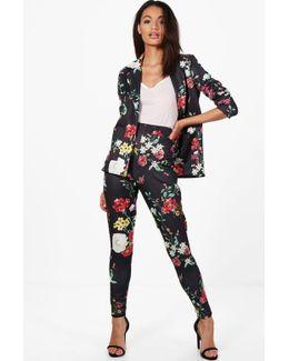Violet Floral Skinny Trouser