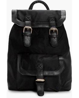 Ruby Nylon Buckle Pocket Rucksack