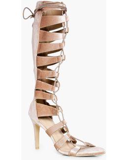 Maddison Knee High Lace Up Gladiator Heel