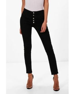 Holly 5 Button Ultra High Waist Skinny Jeans