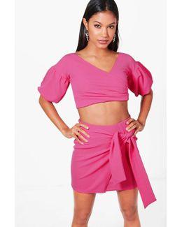 Cindy Ruffle Sleeve Crop & Skirt Co-ord