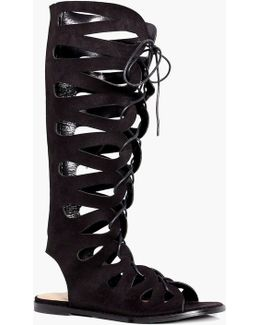 Sarah Ghillie Lace Up Gladiator Knee High Sandal