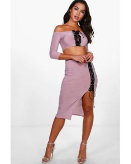 Amy Lace Up Off Shoulder Crop & Skirt Co-ord