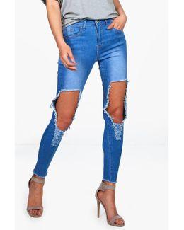 Mia High Waist Distressed Skinny Jeans