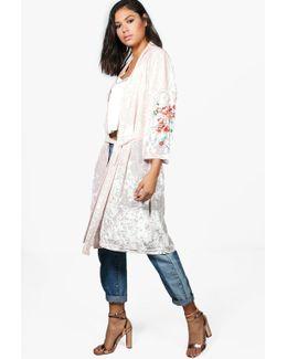 Poppy Oriental Print Velvet Kimono