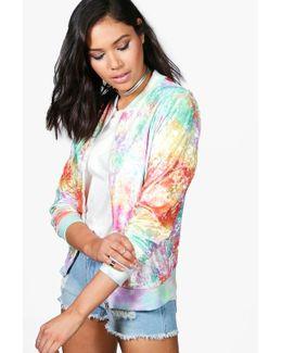 Olivia Tie Dye Multi-coloured Unicorn Velvet Bomber