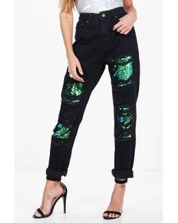 Hatty Sequin Boyfriend Jeans
